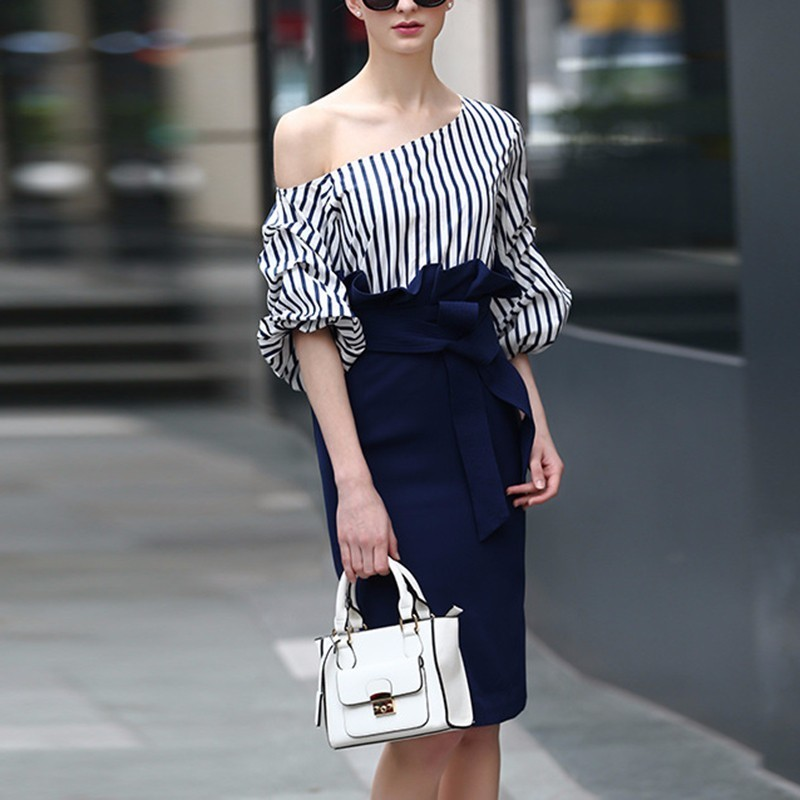 Lanterne Robe Robes Haute Yd Printemps ever Moulante Encolure Ruches Pour Taille Patchwork 2018 Manches Femmes Blue Midi Rayé qRRYAwFx
