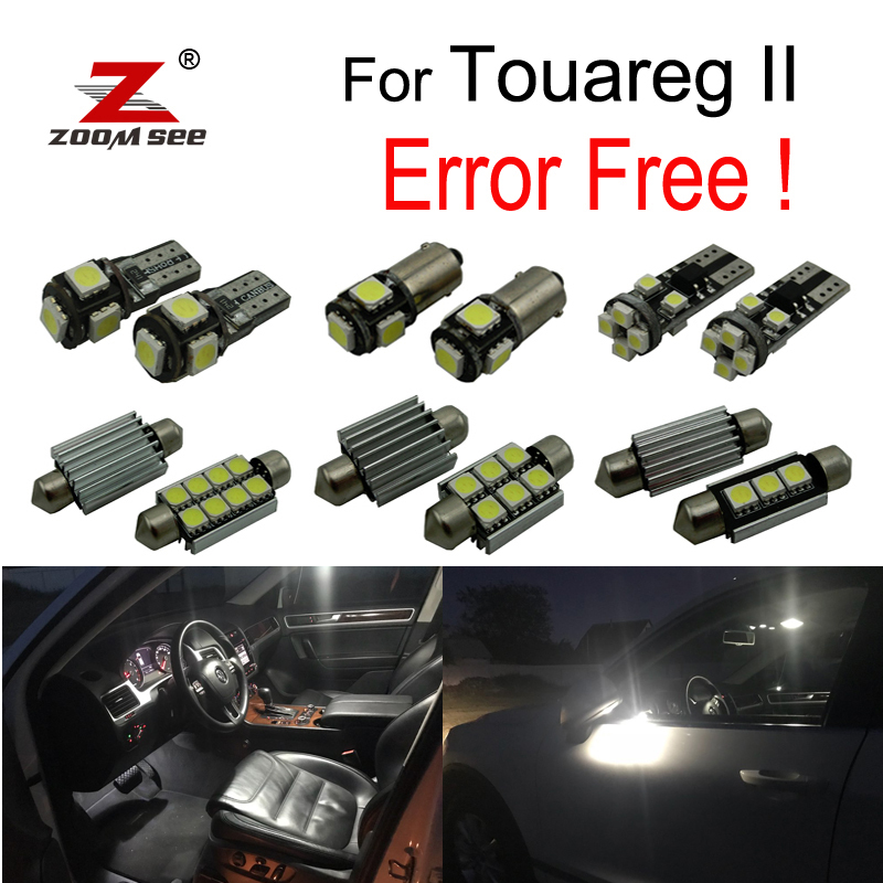 27pcs LED License plate light + Under Mirror lamp + Interior dome map Lights bulb full Kit For Touareg II 7P 7P5 7P6 (2010+) for jeep commander 2006 2010 premium led interior map light kit license plate light full package 12pcs error free