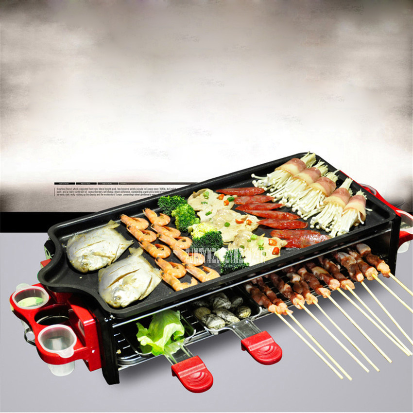 multifunctional double layers smokeless electric pan grill bbq grill raclette grill electric. Black Bedroom Furniture Sets. Home Design Ideas