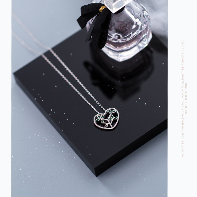 XIHA 925 Sterling Silver Choker Statment Necklaces for Women Heart Love Tree of Life Pendant Necklace valentine's day present 2