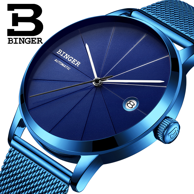 Luxury Watches Seiko Automatic Movement BINGER Men Fashion Mechanical Watch Full Blue Stainless Steel Mesh Band Clock 2017 mens branded luxury fashion watch men automatic ultra thin gold full steel mesh watches men dress mechanical watch orologio uomo
