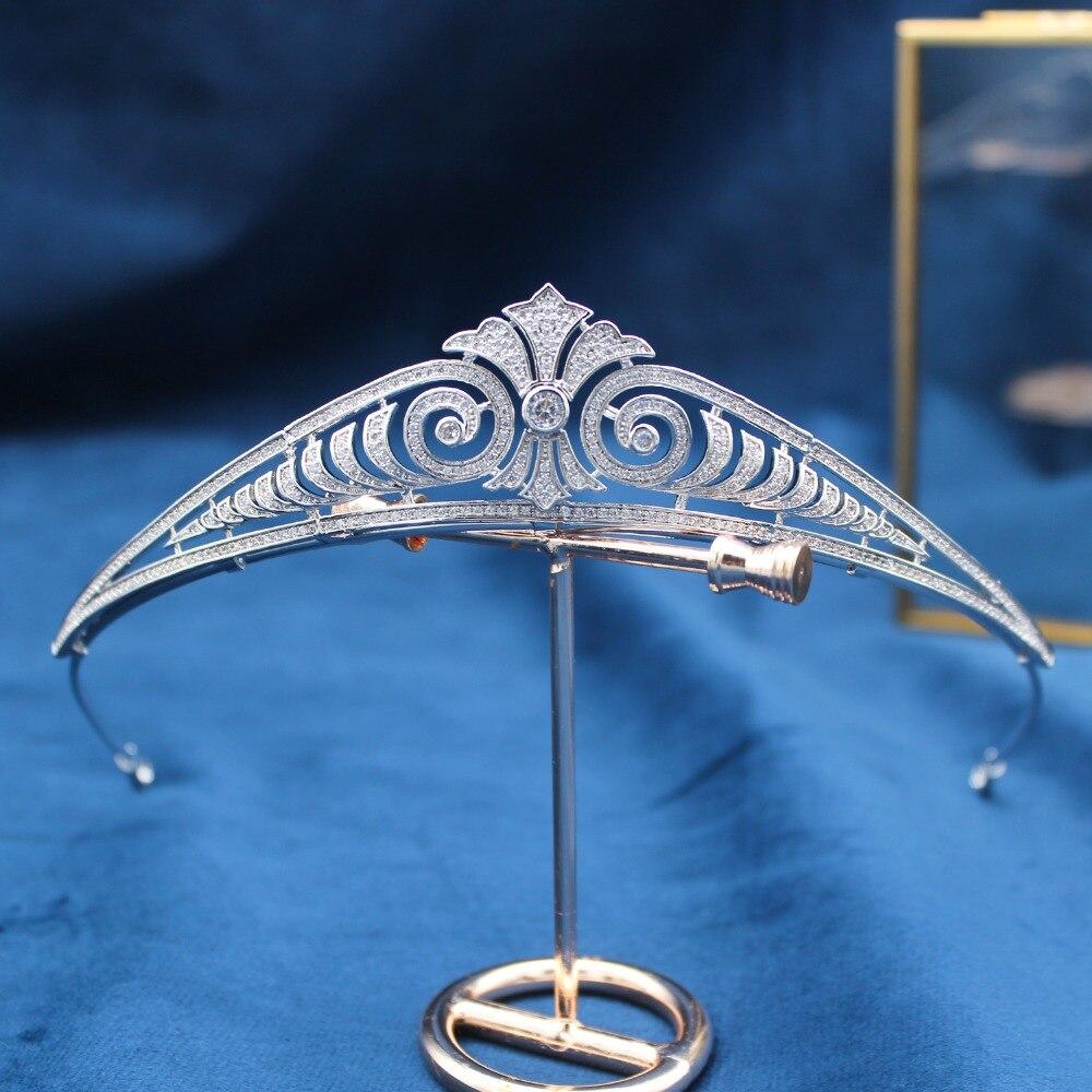 Parmalambe srebrny Petite cyrkon inkrustowane tiara stroiki ślubne korony biżuteria do włosów ślubne akcesoria do włosów tiara de noiva w Biżuteria do włosów od Biżuteria i akcesoria na  Grupa 1