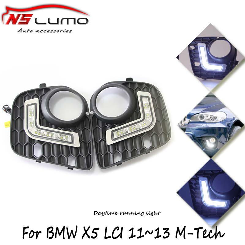 2Pcs Car Daytime Running Lights 8 LED DRL Daylight Kit Super White 12V for BMW X5 E70 led drl parking light car flashing 2pcs drl for bmw x5 e70 2007 2008 2009 2010 daytime running lights daylight car led fog head lamp light cover