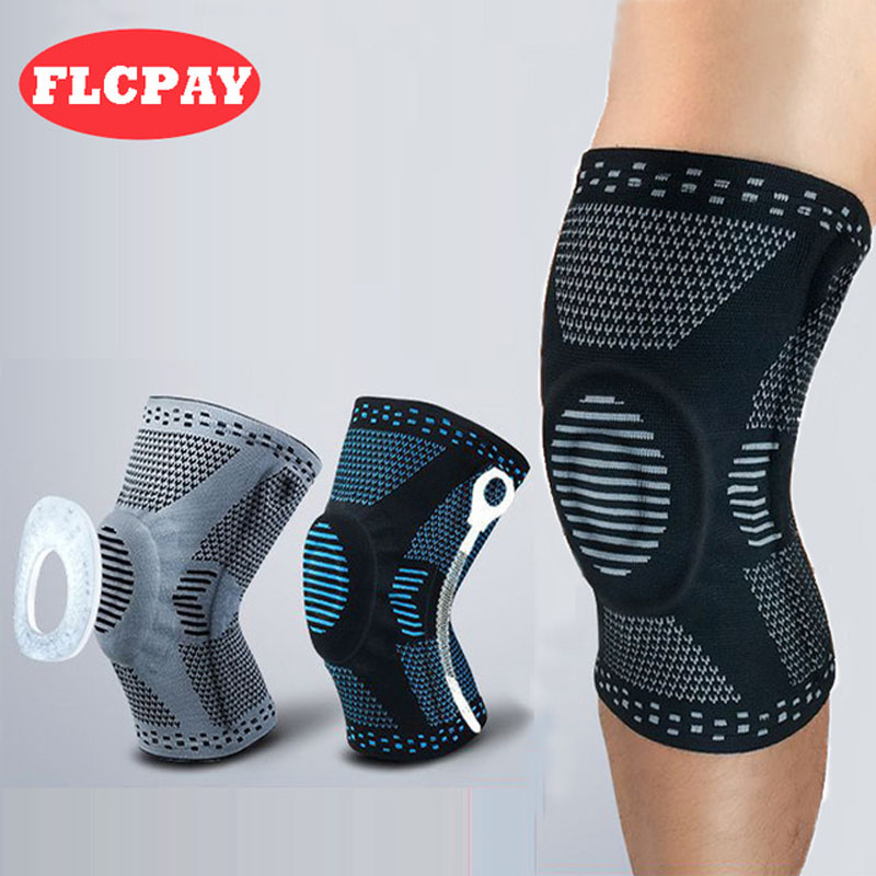 1 PCS Sport Fitness Running Knee Support Protect 3D Weaving  Knee Sleeves Spring Silicon Padded Protection Compression Knee Pads