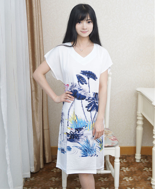 White Chinese Style Print Cotton Sleepwear Female Robe Dress Gown Women's Sexy Nightgown Summer New Sleepshirt Plus Size NR200
