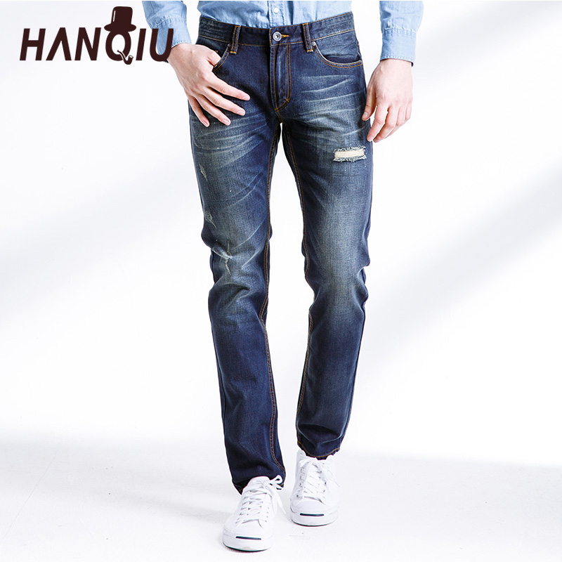 HANQIU   Jeans   men Spring Autumn Fashion Hole Bottoms Silm Fit Cotton Mid-Waist Straight Comfortable Casual Men Pants