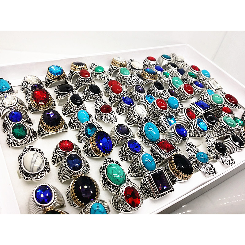 MIXMAX 100pcs vintage stone Ring women men unisex Tribal ethnic styles silver alloy Square oval Jewelry
