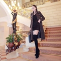 Baroque style 2016 women autumn winter high end  long British style work military green cashmere wool coat outerwear 8403