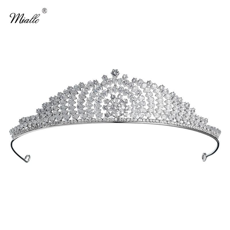 Miallo Luxury AAA Cubic Zirconia Princess Tiaras and Crowns CZ Wedding Diadem Women Hair Jewelry Bridal Headpieces