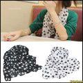 10x Fashion New Style Soft Long Chiffon Stars Print Scarf Wrap Shawl Stole Black/White Free Shipping