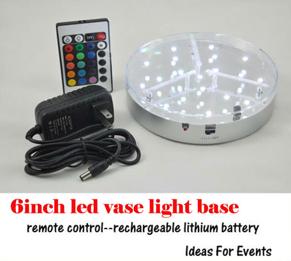 24 RGB Rechargeable Battery Powered 6 inch LED Wedding Centerpieces Light Base for wedding party decoration with Remote control