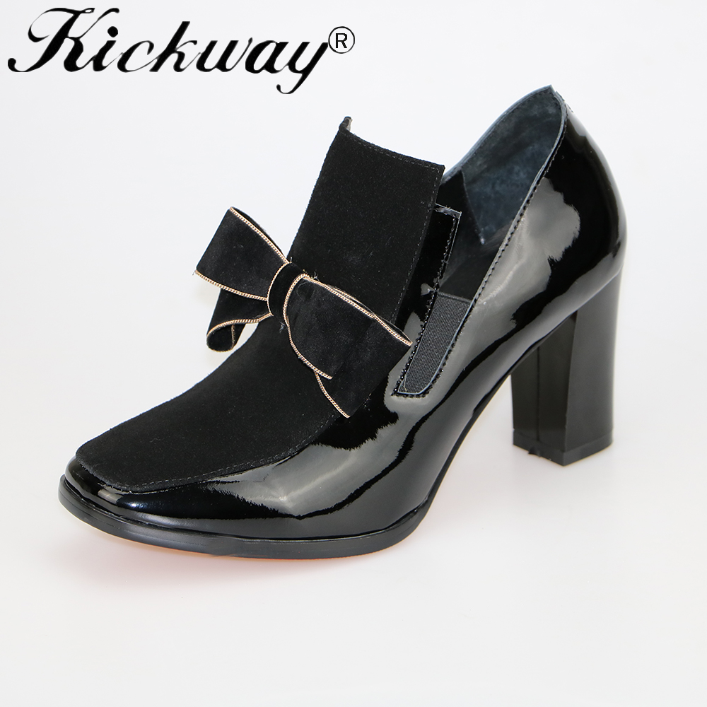 Kickway Plus size 34-44 New 100% REAL PHOTO high heels pumps square toe genuine leather shoes women ladies Sexy chaussure femme