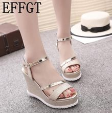ea47a8769e EFFGT Women Sandals Fashion Comfortable Bohemian Wedges Women Sandals Lady  Shoes Platform Silver Gold Black summer