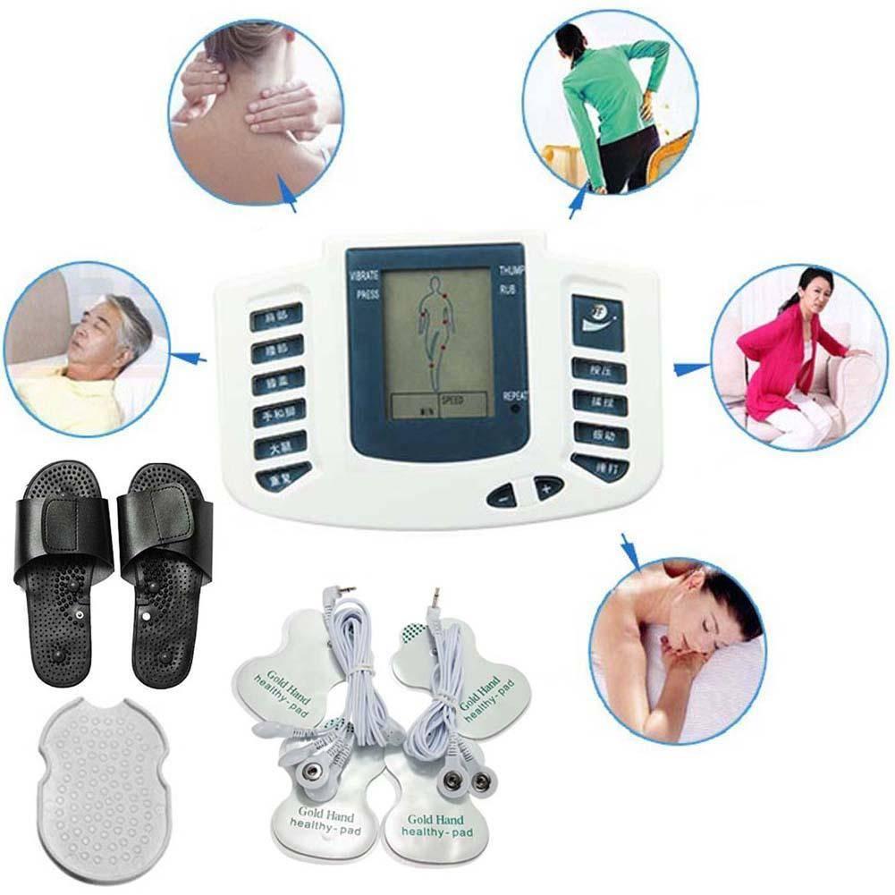 2018 Stimulateur Électrique Full Body Relax Pulse Acuponctures Thérapie + 1 paire Pantoufle + 4 Electrode Pads Beauté soins de Santé ensemble