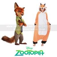 NEW Adult Boys Men Nick Fox Costumes onesies Women Animal Cosplay Pajamas Pyjamas Jumpsuit Sleepwear Winter Halloween Party