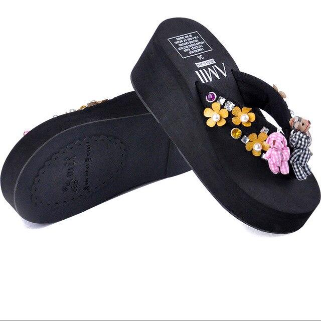 women slippers bear flower pattern stylish outdoor flats shoes woman