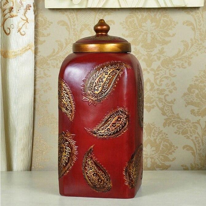 Le stockage rouge de résine du ménage 30.5 CM peut le pot avec le modèle de feuille décoration à la maison ornements de cinabre artisanat d'art en trois couleurs