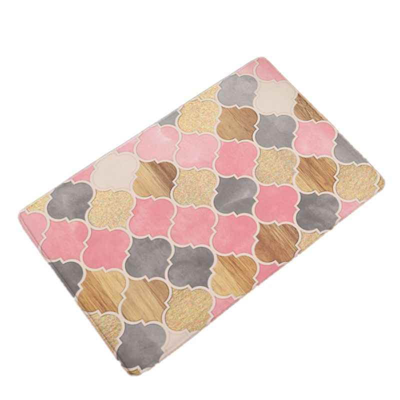 Creative Geometry Flowers Print Flannel Doormat  Kitchen Carpets Bedroom Rugs Bathroom Anti-slip Mats Home Decor