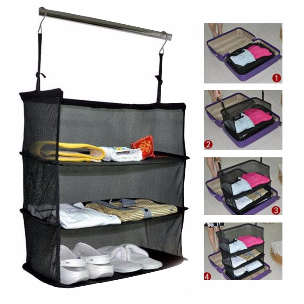 3 Layers Portable Travel Storage Bag Hook Hanging Organizer Wardrobe Clothes Storage Rack Holder Travel Suitcase Shelves Black