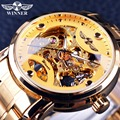 Winner 2016 Classic Transparent Design Mens Watch Top Brand Luxury Automatic Skeleton Male Wrist Watch Clock Men Golden Watch