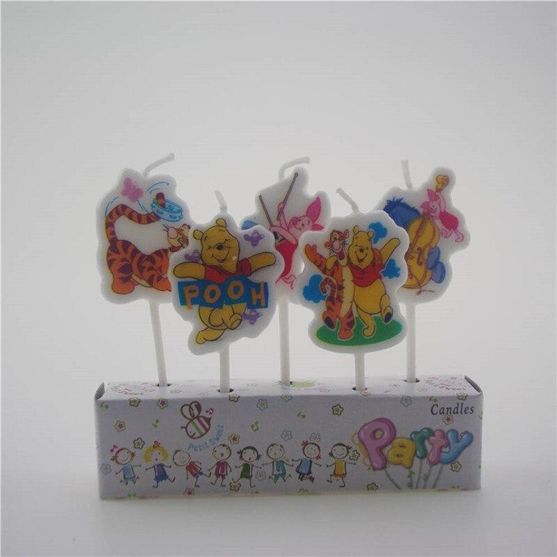 5 шт./упак. Винни-Пух мультфильм свечи cakecup Топпер С Днем Рождения вечерние украшения для cakecup Топпер буж торт Топпер