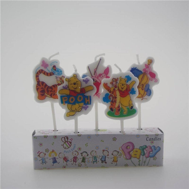 5pcs/pack winnie the pooh cartoon candle cakecup topper happy birthday party decoration for cakecup topper Bougie cake topper