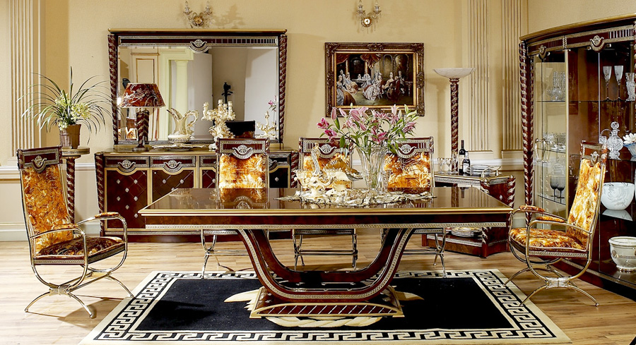 Brown color new classical style wood carving long dining for Latest trend in dining table