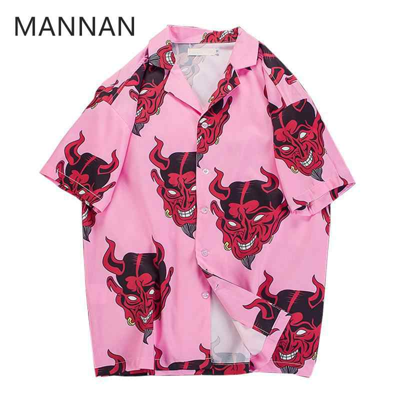 MANNAN Men Devil Full Printing Turn-down Collar Casual Shirts Men 2018 Summer High Street Men's Shirts Pink /Purple