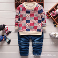 2016 Spring Baby Boy Clothes Set Plaid Series Optional pullover Closure Type Full Sleeve O-Neck Cotton Material 1010#