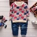 2016 primavera bebé ropa del muchacho serie conjunto a cuadros opcional pullover clausura tipo de manga completa del o-cuello del algodón Material 1010#