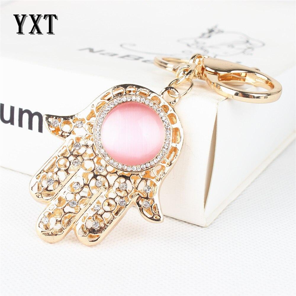47957ee505eb Rosa mano Palm ronda lindo cristal rhinestone encanto colgante bolso bolsa  Llaves para coches anillo cadena regalo creativo de la boda
