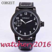 Casual Corgeut 45mm PVD Case top brand Luxury Black Dial White Marks 6497 Hand Winding movement Men's Mechanical Wristwatches