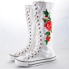 2016 Hot Sale Adult Fashion Gothic Women Boots Women Knee High Zip Laces Up Canvas Boots Free shipping