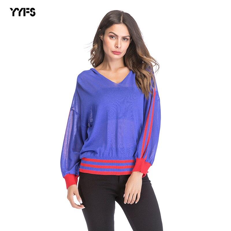 f50bccb9740 Мода Полосатый ажурный Для женщин рубашка с v-образным вырезом Свободные  Тонкий вязаный свитер выдалбливают