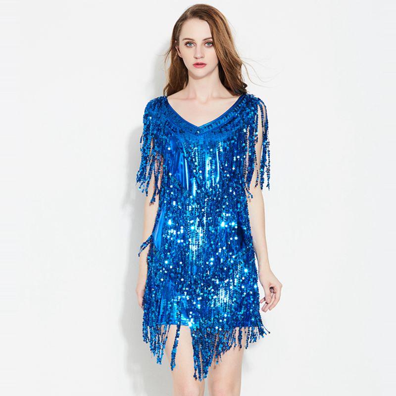 Discothèque Disco stage performance Robes femmes paillettes gland dress lady sexy sans manches slim dress punk rock V cou X7016