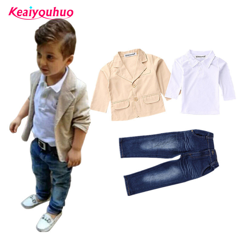 Boys Spring autumn Clothes 2016 Fashion Children Clothing Gentlemen coat jacket T-shirt pants 3 pcs set suit kids clothes