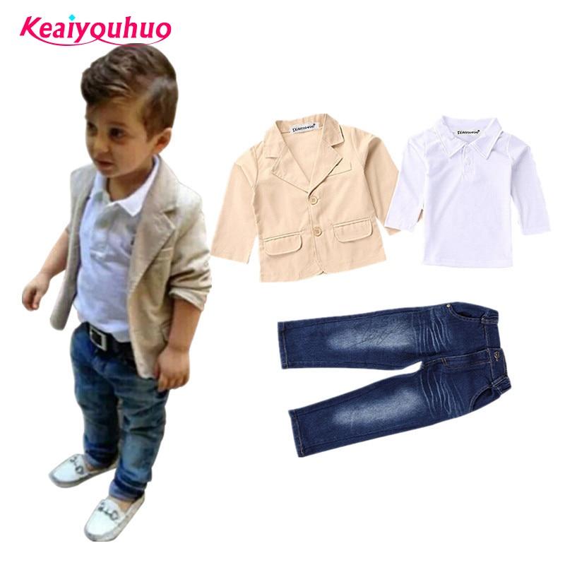 Boys Spring autumn Clothes 2018Fashion Children Clothing Gentlemen coat jacket T-shirt pants 3 pcs set suit kids clothes