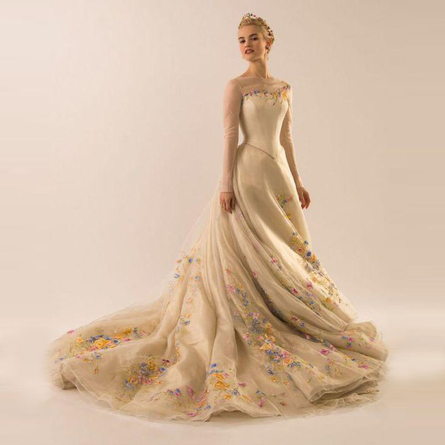 Haute Couture Light Gold Bridal Dress Sheer Jewel Neck Long Sleeve ...