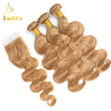 HairUGo Hair Pre-colored Peruvian Body Wave Lace Closure Non Remy 3 Bundles Hair Weave #27 Color Human Hair Bundles With Closure