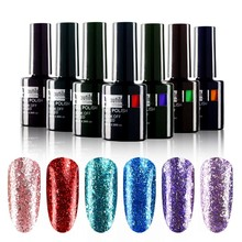 1pc Platinum Glitter Gloss berkilat Bling Color Gel Nail Polish 10ml
