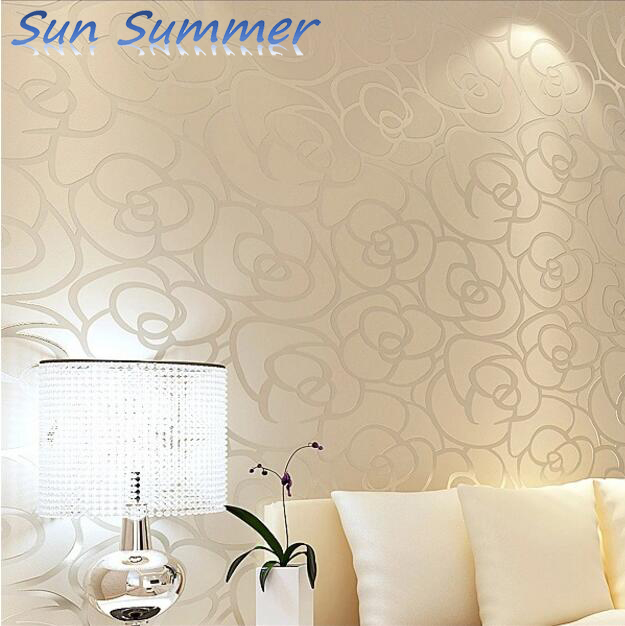 Wholesale wallpaper woven wallpaper flocking rose living room bedroom tv background wall wallpaper new 3d flocking home wall stickers country leaves fashion non woven wallpaper bedroom sitting room tv setting wall waterproof
