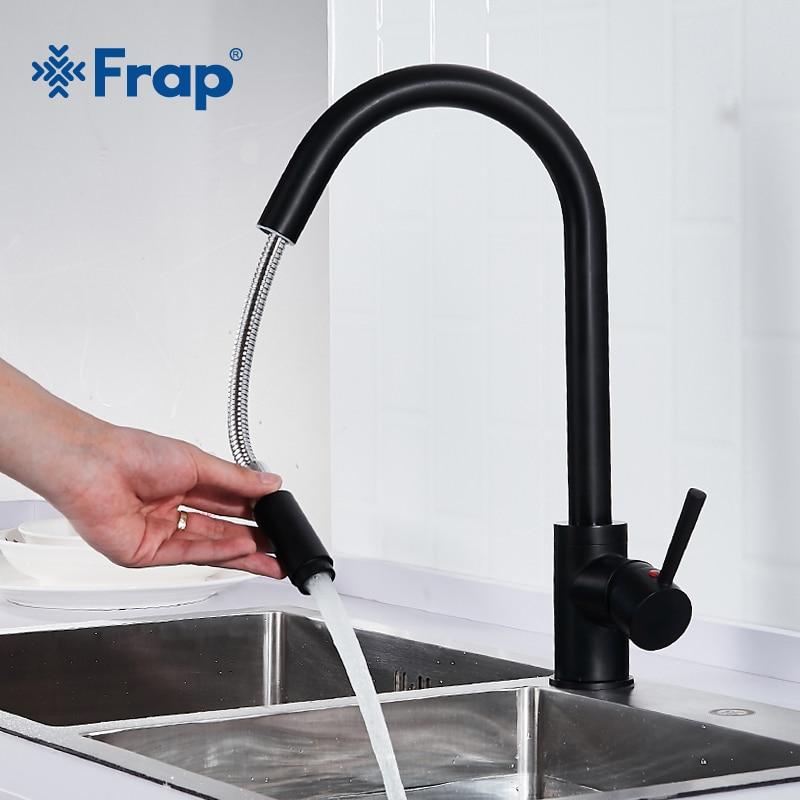 Frap горячая и холодная вода кухонный кран черная масляная щетка раковина смеситель кран 360 градусов вращение выдвижной смеситель кухня кран...