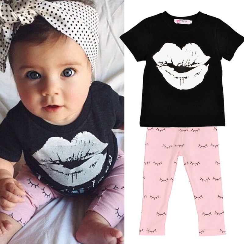 2017 Fashion New Baby Girls Clothes 0-4Y Toddle Kid Summer Short Sleeve Slip Print T-Shirt and Eyelash Pant 2pcs Children Set