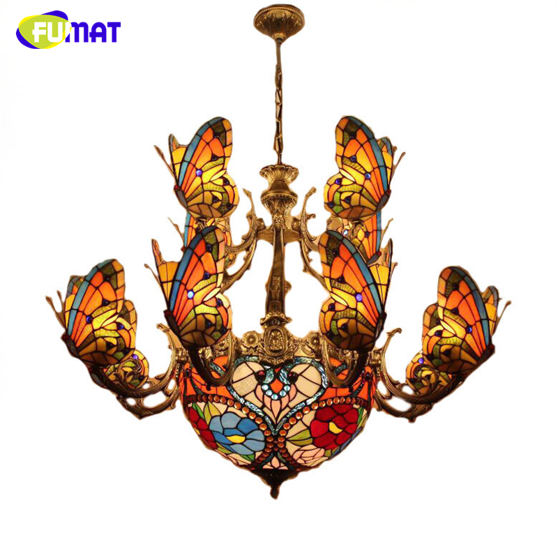 FUMAT Glass Art Chandelier Stained Glass Butterfly Lamp Indoor Lightings European Style Hotel Bar Living Room Light Fixtures fumat stained glass roses lightings modern art pendant light for living room restaurant lamp european style pendant lamp lights