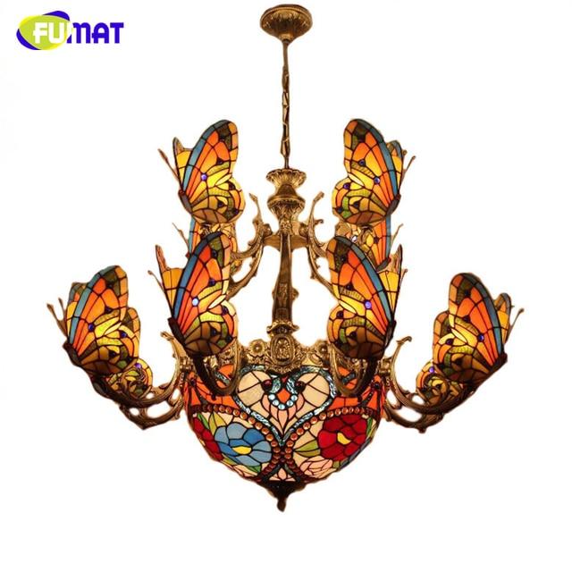 FUMAT Glass Art Chandelier Stained Glass Butterfly Lamp Indoor Lightings European Style Hotel Bar Living Room Light Fixtures