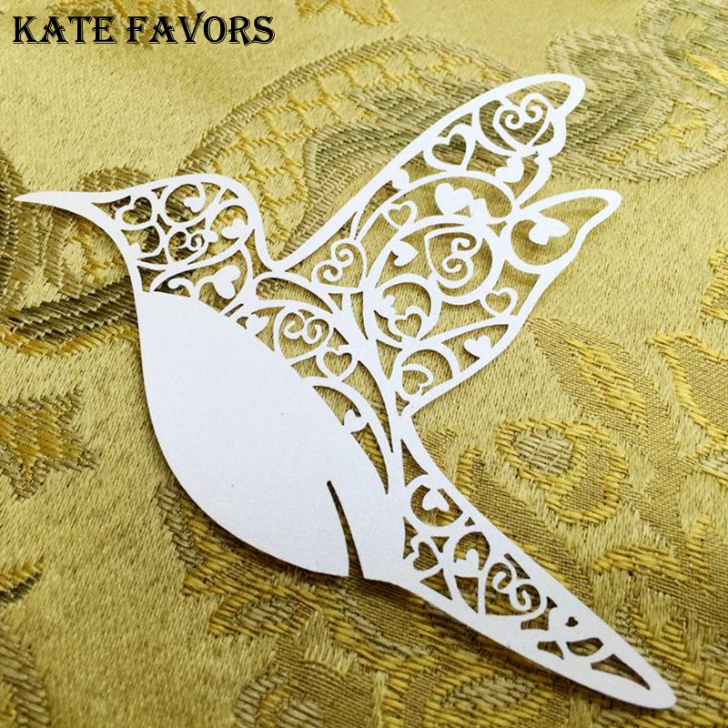 Hollow Out Bird 50pcs Laser Cut Wedding Party Table Name Place Cards Wedding Party Decoration Table Decoration