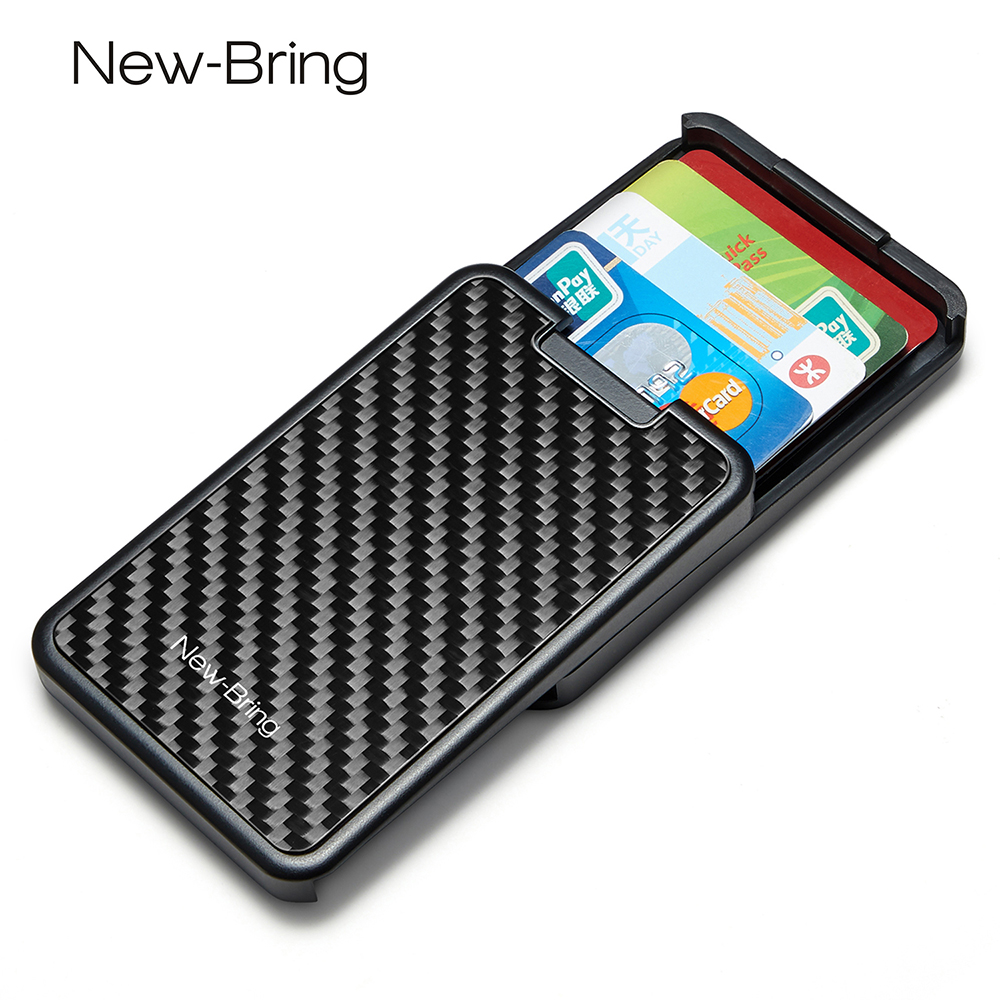 Slide Card Holder Slim Wallet Card Case With Carbon Fiber RFID Blocking Men Women Male Female
