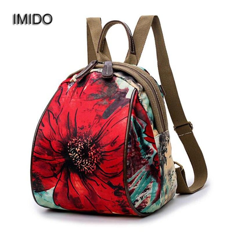 308d444f0056 Имидо Для женщин рюкзаки женские дорожные сумки цветок рюкзак небольшая  сумка для студентов Школы Backbag холст