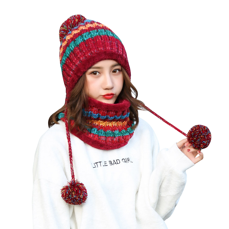 c658e7a9a 100PCS / LOT Winter Warm Knitted Hat Scarf Two Pieces Set Fashion Thicken  Outdoor Female Warm Hat Collars Scarf Set