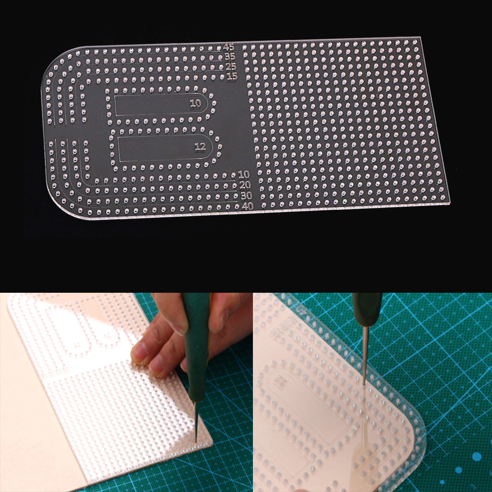Leather Craft Acrylic Punching Positioning Calculation Ruler Multifuction Stencil Template 17.5x8.6cm